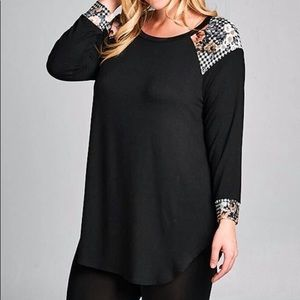 Jersey Tunic Top Black with Floral Plaid Contrast